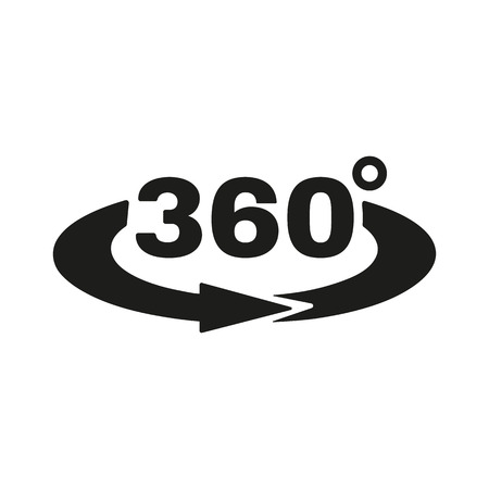 The Angle 360 degrees icon. Rotation symbol. Flat Vector illustration Çizim