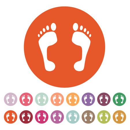 The footprint icon. foot symbol. Flat Vector illustration. Button Set Vector