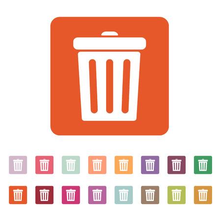 trashcan: The trashcan icon. Dustbin symbol. Flat Vector illustration. Button Set Illustration