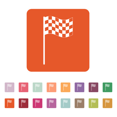 accomplishments: The checkered flag icon. Finish symbol. Flat Vector illustration. Button Set
