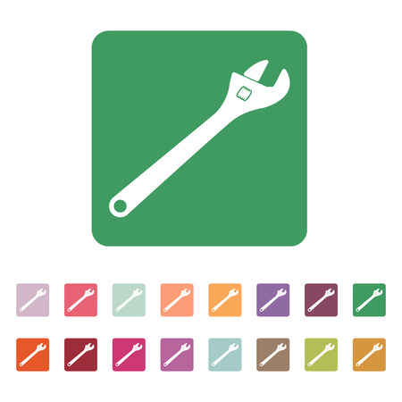 adjustable: The adjustable wrench icon. Adjustable wrench symbol. Flat. Vector illustration. Button Set