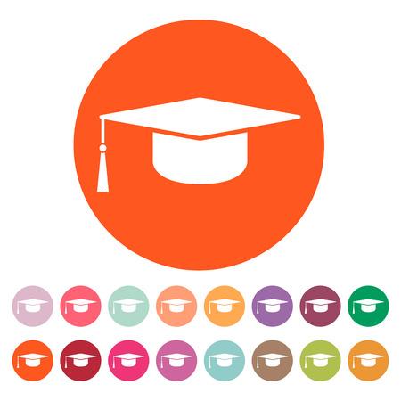 卒業の帽子アイコン。教育のシンボル。フラットのベクター イラストです。ボタン セット
