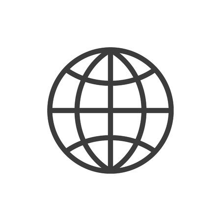 De wereldbol. Globe symbool. Platte Vector illustratie