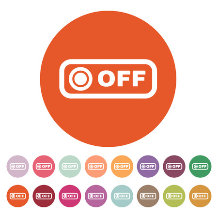 The off button icon. Off switch symbol. Flat Vector illustration. Button Set