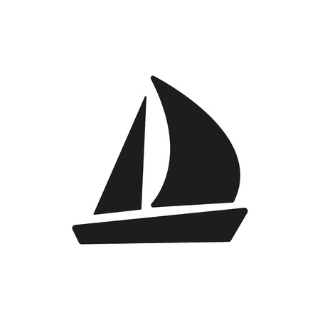 bateau voile: L'icône de voilier. Voile symbole du bateau. Appartement Vector illustration Illustration