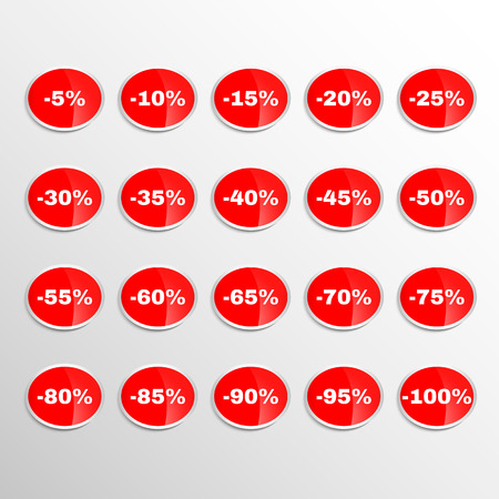 Realistic Stickers Discount Labels Set Illustration
