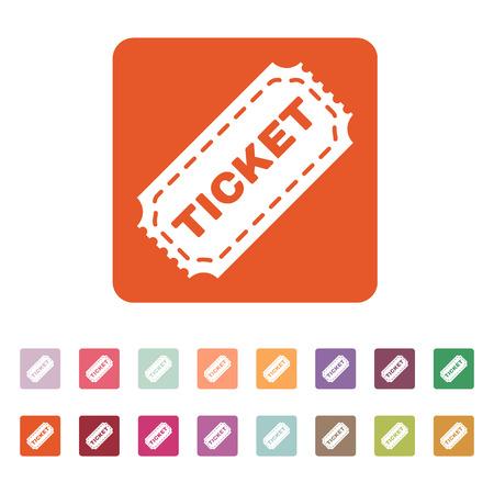 ticket: The ticket icon. Ticket symbol. Flat Vector illustration. Button Set