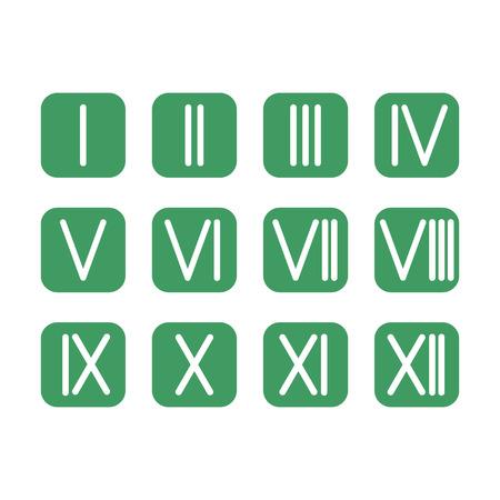 romeinse cijfers: Set van Romeinse cijfers 1-12 icoon Stock Illustratie