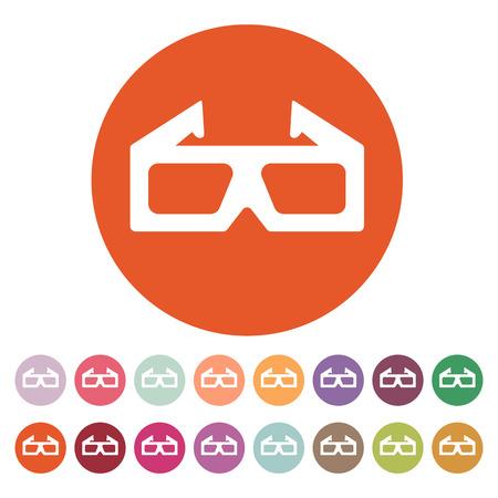 stereoscope: The 3d movie icon. 3D Glasses symbol. Flat Vector illustration. Button Set Illustration