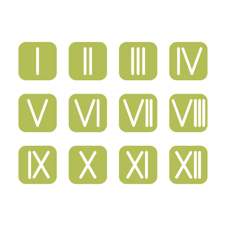 roman numerals: Set of Roman numerals 1-12 icon Illustration