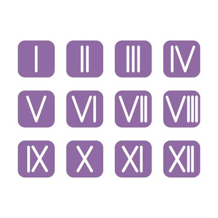 numeros romanos: Conjunto de n�meros romanos 1-12 icono