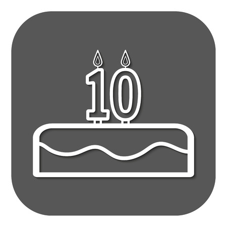 number 10: Birthday cake with candles number 10