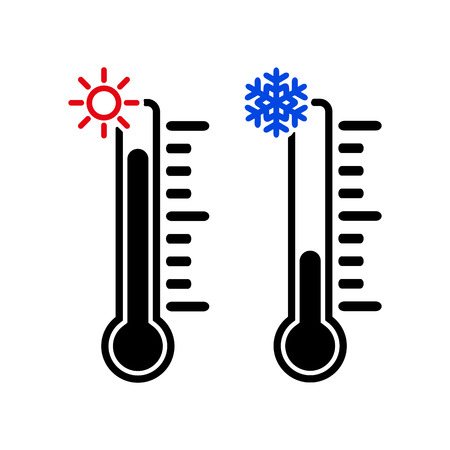 low temperature: The thermometer icon. High and Low temperature