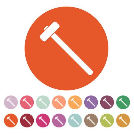 sledgehammer: The sledgehammer icon. Sledgehammer symbol. Flat Vector illustration. Button Set
