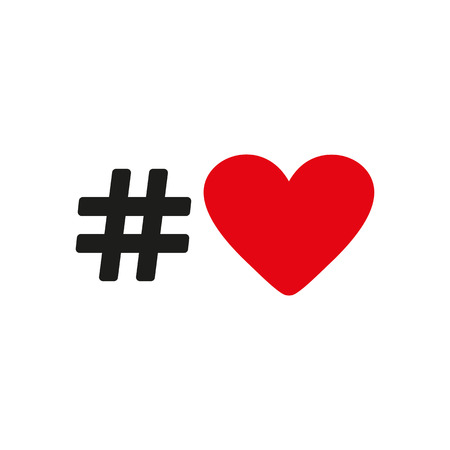 The Hash Love Icon Hashtag Heart Symbol Flat Vector Illustration
