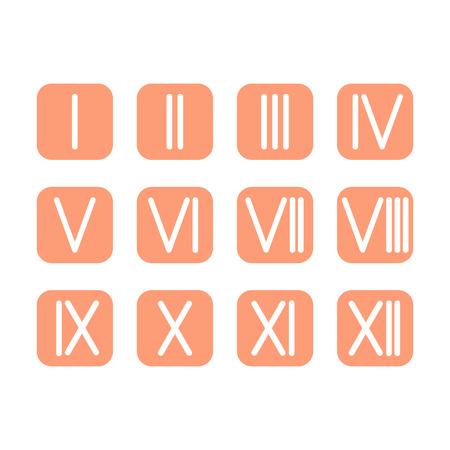 romeinse cijfers: Stel Romeinse cijfers 1-12 icoon. 12 vierkante gekleurde knoppen. vector