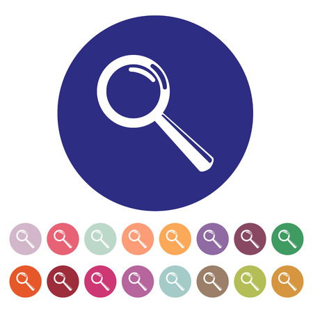 The Magnifier Glass. Search icons. Vector. Set Vettoriali