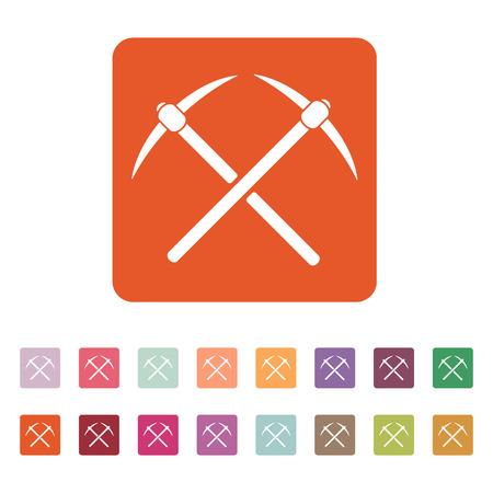 mattock: The pick icon. Pickax symbol. Flat Vector illustration. Button Set