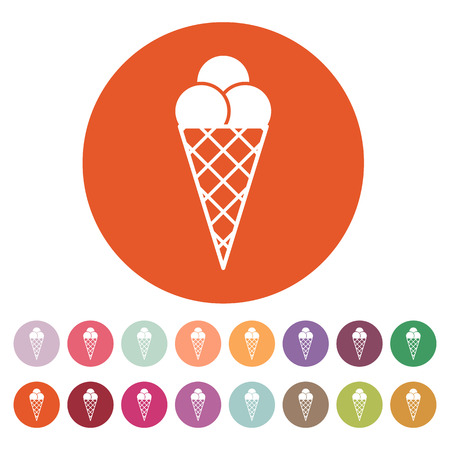 souffle: The ice-cream icon. Ice cream symbol. Flat Vector illustration. Button Set Illustration