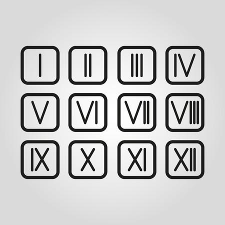 El Set Números Romanos 1 12 Icono Vector Ilustraciones Vectoriales