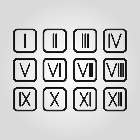 roman numerals: The set Roman numerals 1-12 icon. vector