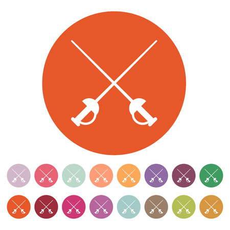 epee: The sword icon. Epee symbol. Flat Vector illustration. Button Set