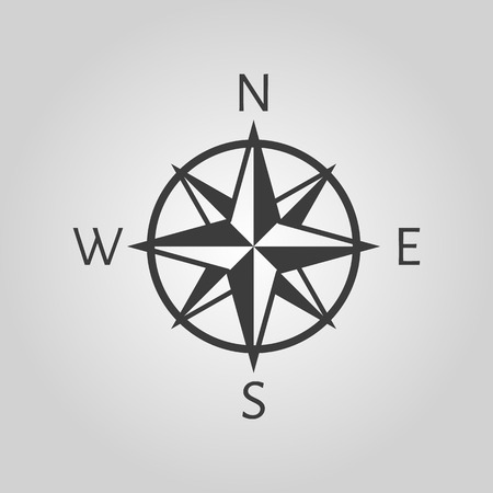 The compass icon. Navigation symbol. Flat Vector illustration Vectores