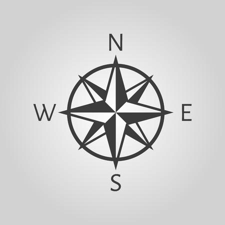 brujula: El icono de br�jula. S�mbolo de navegaci�n. Ilustraci�n vectorial Flat