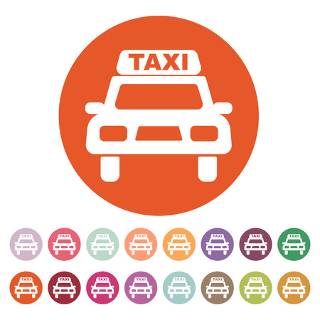 taxicab: The taxi icon. Taxicab symbol. Flat Vector illustration. Button Set
