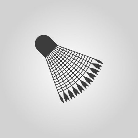 badminton racket: The badminton icon. Shuttlecock symbol. Flat Vector illustration
