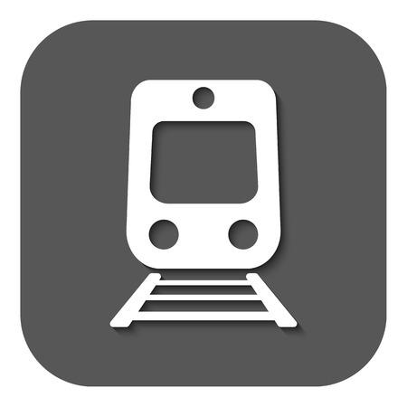 The train icon. Railway symbol. Flat Vector illustration. Button
