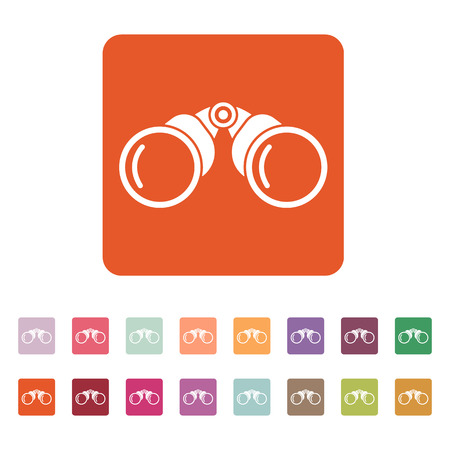 binoculars view: The binoculars icon. Search symbol. Flat Vector illustration. Button Set
