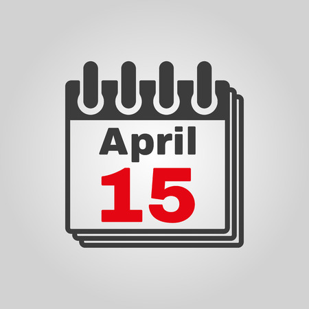 number 15: The Calendar 15 april icon. Tax day symbol. Flat Vector illustration