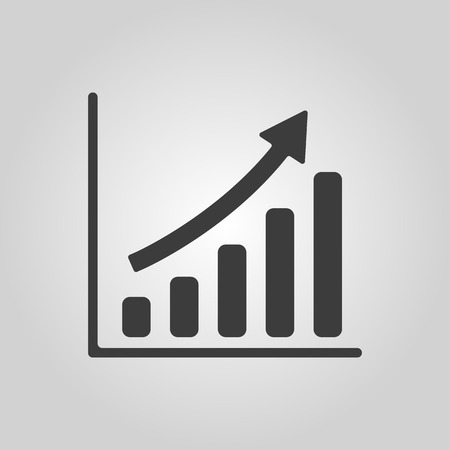 The growing graph icon. Progress symbol. Flat Vector illustration Vettoriali
