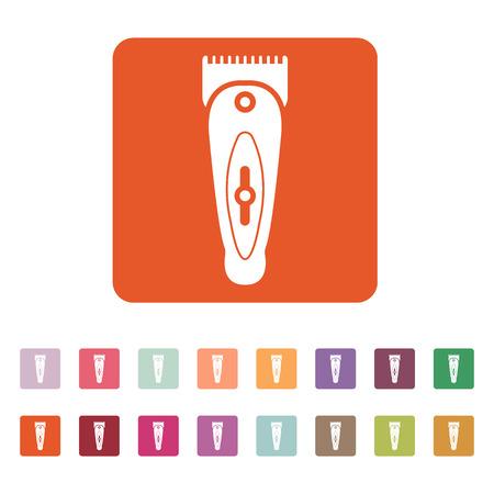 rasoio: L'icona hairclipper. Simbolo Shaver. Appartamento illustrazione vettoriale. Button Set Vettoriali