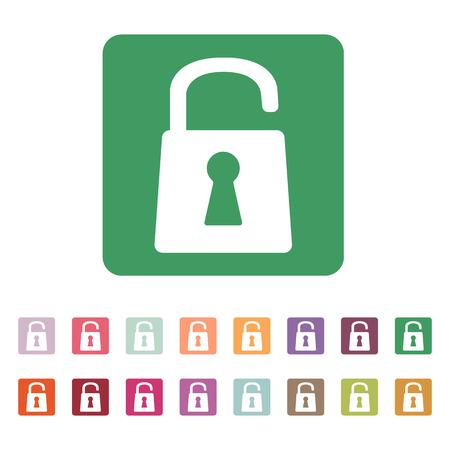 secured: The open lock icon. Lock symbol. Flat Vector illustration. Button Set