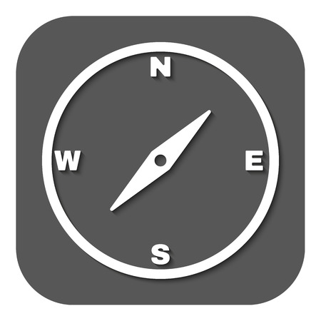 meridian: The compass icon. Compass symbol. Flat Vector illustration. Button