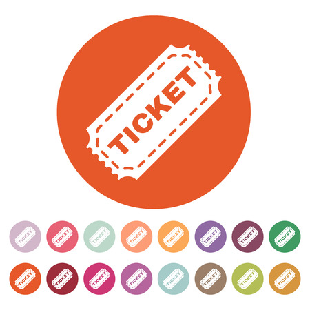 movie theatre: The ticket icon. Ticket symbol. Flat Vector illustration. Button Set