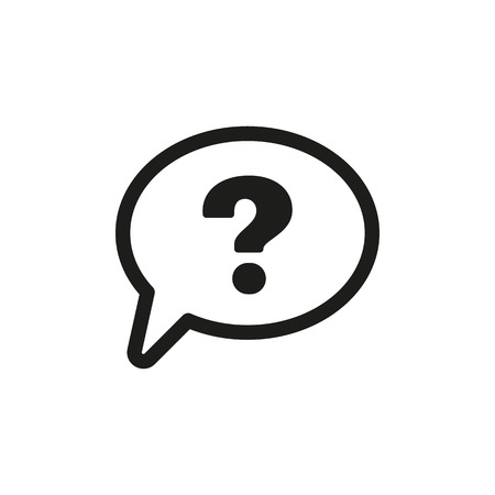 The question mark icon. Help speech bubble symbol. Flat Vector illustration