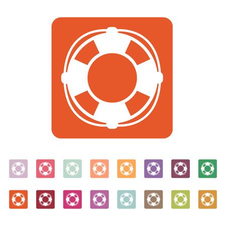 lifebelt: The lifebuoy icon. Lifebelt symbol. Flat Vector illustration. Button Set