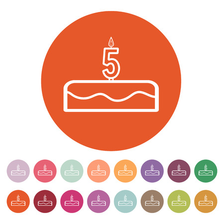number candles: Cake with candles in the form of number 5 icon. birthday symbol. Flat Vector illustration. Button Set