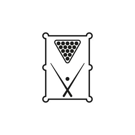 snooker room: L'icona tavolo da biliardo. Simbolo del gioco. Appartamento vettore