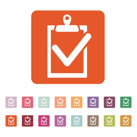 folio: The clipboard icon. checklist symbol. Flat Vector illustration. Button Set