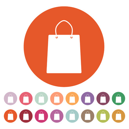 mall signs: The shopping bag icon. Shopping bag. Flat. Vector illustration. Button Set Illustration