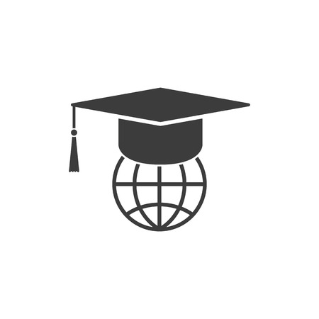 The graduation cap and globe icon. Education symbol. Flat Vector illustration
