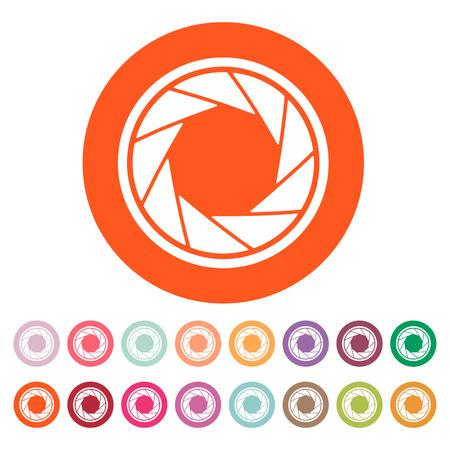 diaframma: L'icona diaframma. Simbolo Aperture. Appartamento illustrazione vettoriale. Button Set