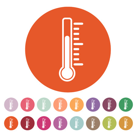 termómetro: El icono de termómetro. Símbolo de termómetro. Ilustración vectorial Flat. Botón Set