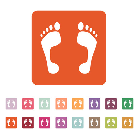 The footprint icon. foot symbol. Flat Vector illustration. Button Set Vector