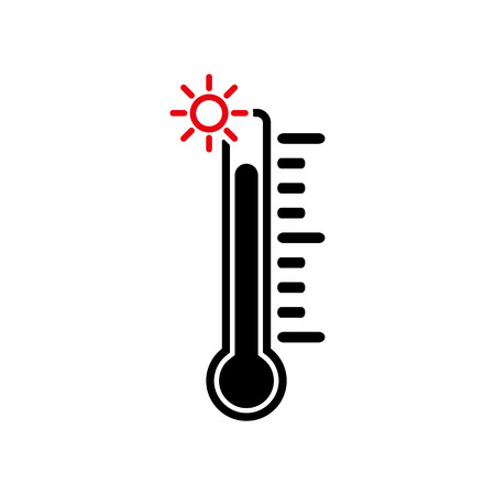 The thermometer icon. High temperature symbol. Flat Vector illustration Ilustração