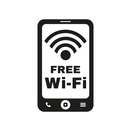 cell phone transmitter tower: The wifi icon. Free Wifi symbol. Flat Vector illustration